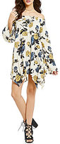 Blu Pepper Off-the-Shoulder Bell-Sleeve Handkerchief-Hem Floral Printed Dress