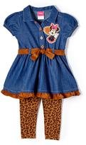 Children's Apparel Network Miniie Mouse Brown & Blue Button-Up & Pants - Girls