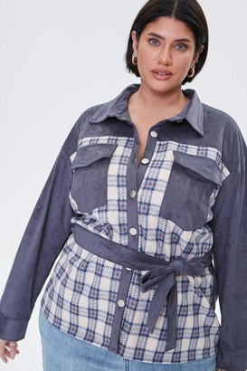 Forever 21 Plus Size Faux Suede Plaid Jacket