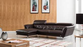 """American Eagle Furniture EK-L083 Mid Century Modern Italian Leather Sectional Sofa with Left Facing Chaise 111"""""""