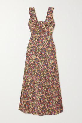 DÔEN Cascade Ruffled Floral-print Silk Crepe De Chine Dress - Green