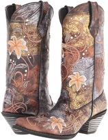 Durango Crush 12 Rhinestone Floral Embroidered Boot (Distressed Black Metallic) - Footwear