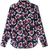 Joe Fresh Women's Print Silk Blouse, Navy (Size M)