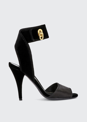 Tom Ford Satin & Velvet Ankle-Wrap Sandals