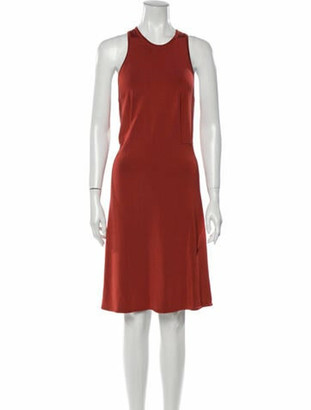 Alaia Crew Neck Knee-Length Dress Orange