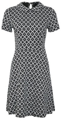 Dorothy Perkins Womens Black Geometric Print Collared Fit And Flare Dress, Black