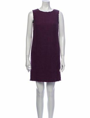 Dolce & Gabbana Bateau Neckline Mini Dress Purple