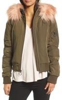 BCBGeneration Women's Faux Fur Trim Puffy Bomber Jacket