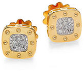 Roberto Coin Pois Moi Diamond 18K White and Yellow Gold Square Earrings