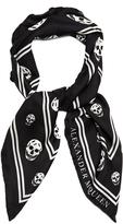 Alexander McQueen Skull-jacquard silk scarf