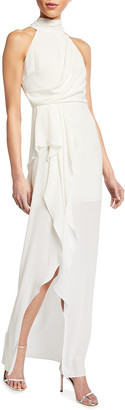 Halston Mock-Neck Halter Gown with Draped Front Detail