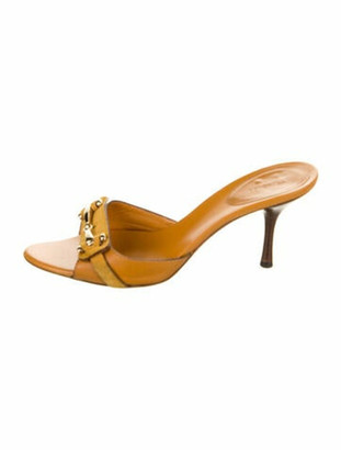 Gucci Horsebit Accent Leather Slides Orange