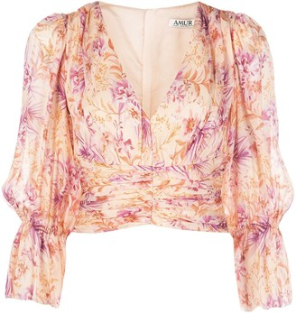 AMUR Cropped Plunge Style Blouse