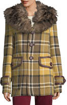 Marc Jacobs Plaid Coat with Shearling Fur Collar