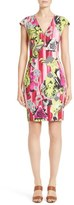Versace Print Jersey Cap Sleeve Dress