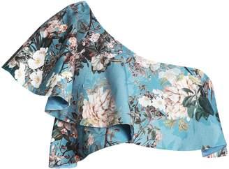Nicholas Arielle One-shoulder Ruffled Floral-print Cotton-blend Jacquard Top