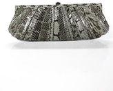 Kotur Gray Black Snakeskin Clasp Closure Clutch Handbag