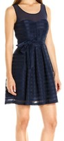 GUESS Blue Women's Size 12 Illusion Striped A-Line Sheath Dress