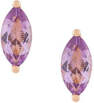 Delfina Delettrez 18kt champagne gold Dots Solitaire amethyst stud earrings