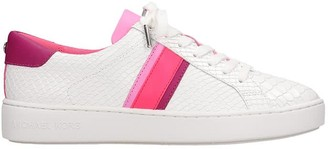 Michael Kors Irving Stripe Sneakers In White Leather