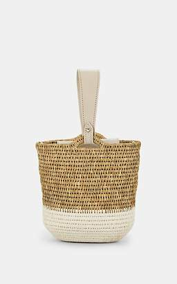 Khokho Women's Zandi Leather-Trimmed Straw Bucket Bag - White
