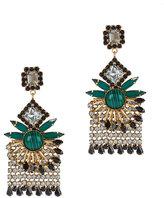 Elizabeth Cole Malachite Crystal Fringe Earrings