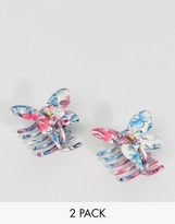 Asos Pack Of 2 Floral Butterfly Hair Claws