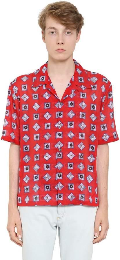 Maison Margiela Printed Cotton Muslin Shirt