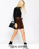 Asos Suede A-Line Skirt With Square Eyelets and Ties Waist