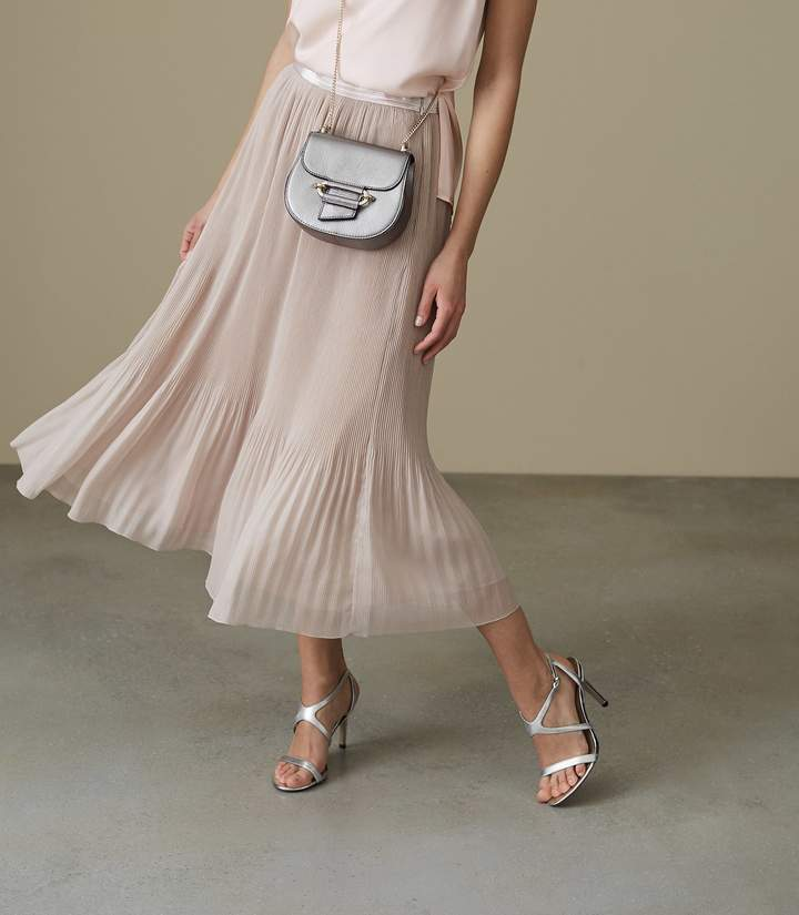REISS Cherry - Pleated-maxi Skirt in Neutral