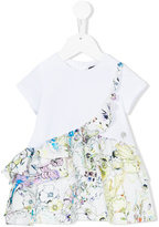 Roberto Cavalli floral frill trim dress - kids - Cotton/Spandex/Elastane - 6 mth