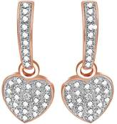 Jewel Zone US Round Cut Cubic Zirconia Drop Earrings in 14K Rose Gold Over Sterling Silver (0.02 Cttw)