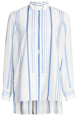 Chloé Ruffle Striped Poplin Shirt