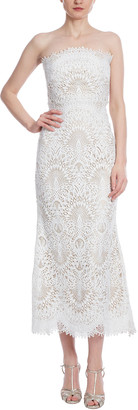 Badgley Mischka Lace Midi Bustier Dress