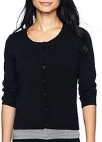 JCPenney a.n.a® 3/4-Sleeve Crew-Neck Cardigan - Petites