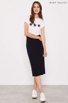 Mint Velvet Womens Contrast Stitch Pencil Skirt - Black