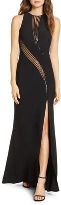 SHO Sequin Mesh Cutout Gown