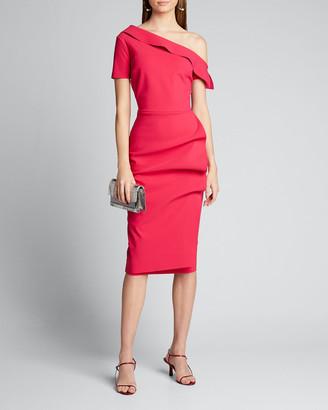 Chiara Boni Asymmetric Shoulder Ruffle Skirt Dress