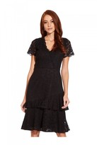 Adrianna Papell Felicity Lace Flounce Dress In Black