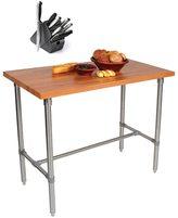 John Boos CHY-CUCKNB424-40 Cherry Cucina Americana Classico 48 x 24 Table and Henckels 13-piece Knife Block Set