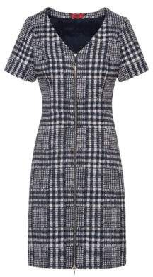 HUGO Glen-check A-line dress with full front zip