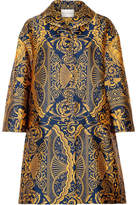Mary Katrantzou Spence Oversized Jacquard Coat - Mustard