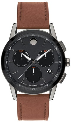 Movado Museum Sport Chronograph Leather Strap Watch, 43mm