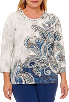 Alfred Dunner Arizona Sky Long Sleeve Crew Neck Pullover Sweater-Plus