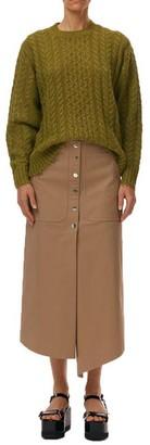 Tibi Myriam Front Button Midi Skirt