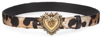 Dolce & Gabbana Heart Leopard-Print Leather Belt