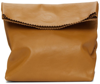 Vetements Beige Leather Paper Bag Clutch