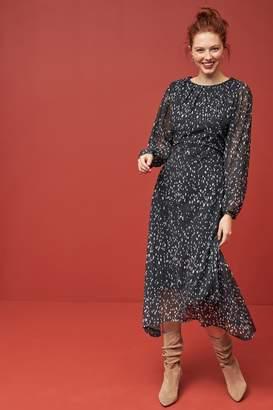 Next Womens Monochrome Mesh Midi Dress - Black