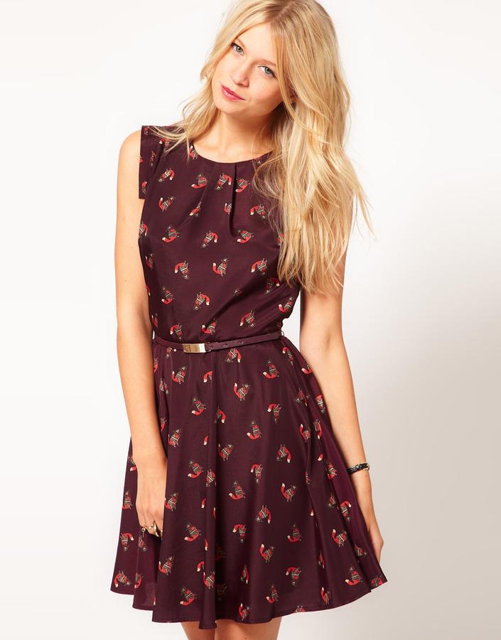 Oasis Fox Print Skater Dress