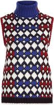 Sea Multi Fairisle Knit Roll Neck Vest